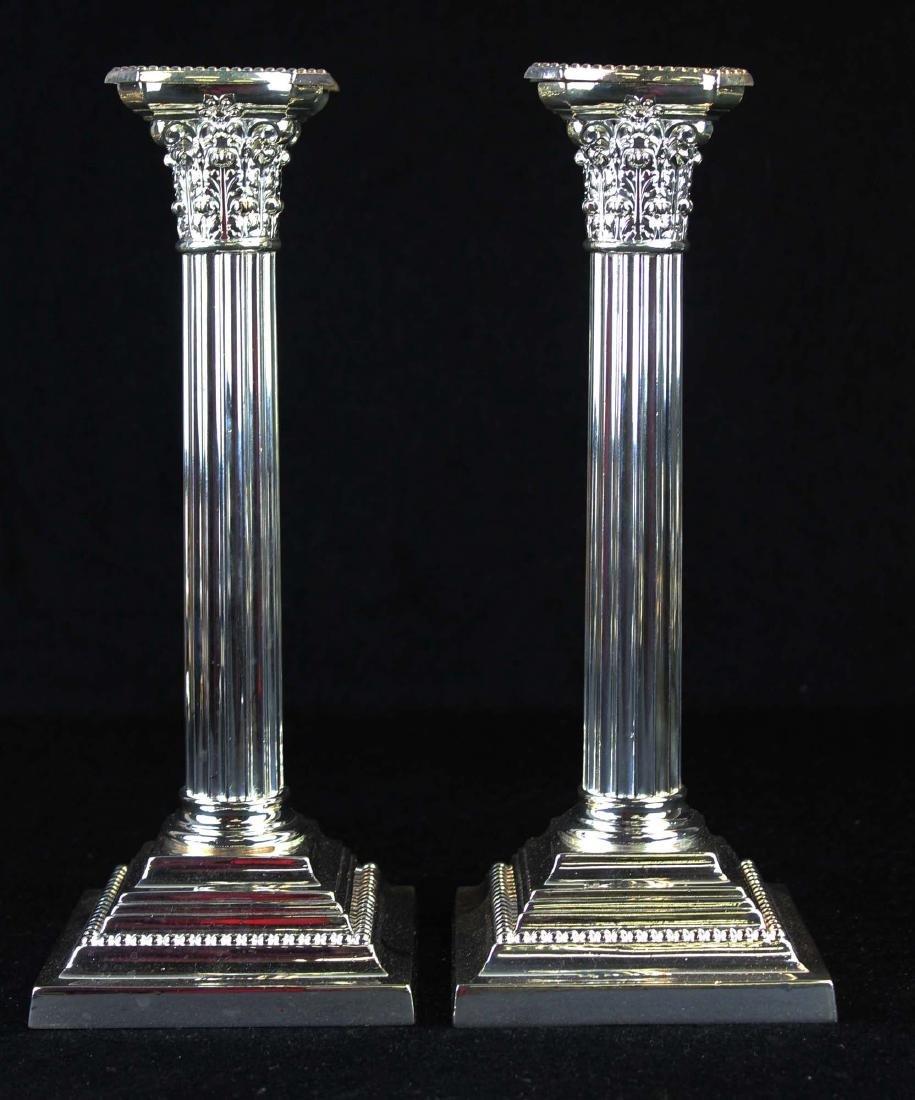 pair of Gorham silverplated column candlesticks
