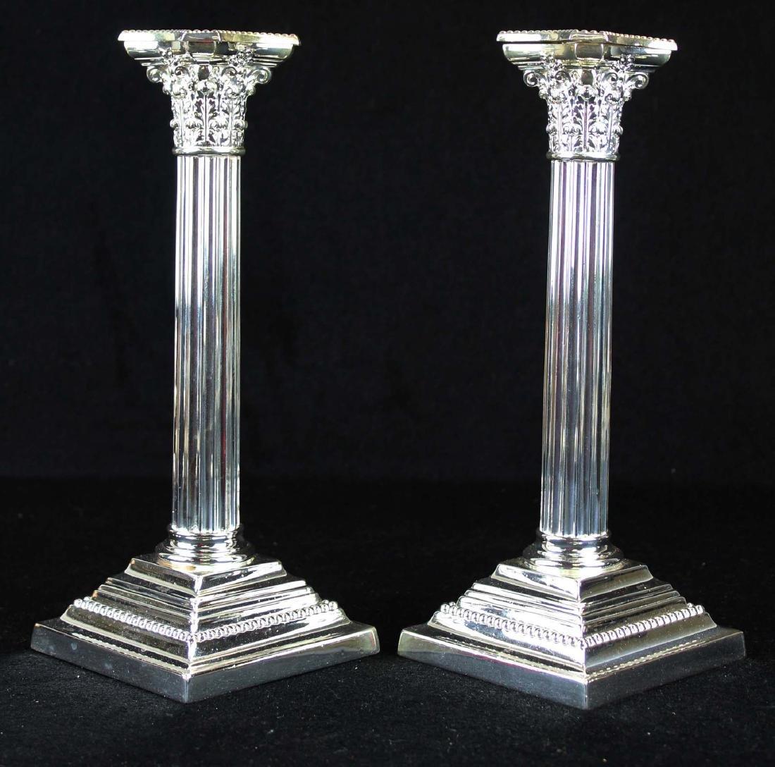pair of Gorham silverplated column candlesticks - 2