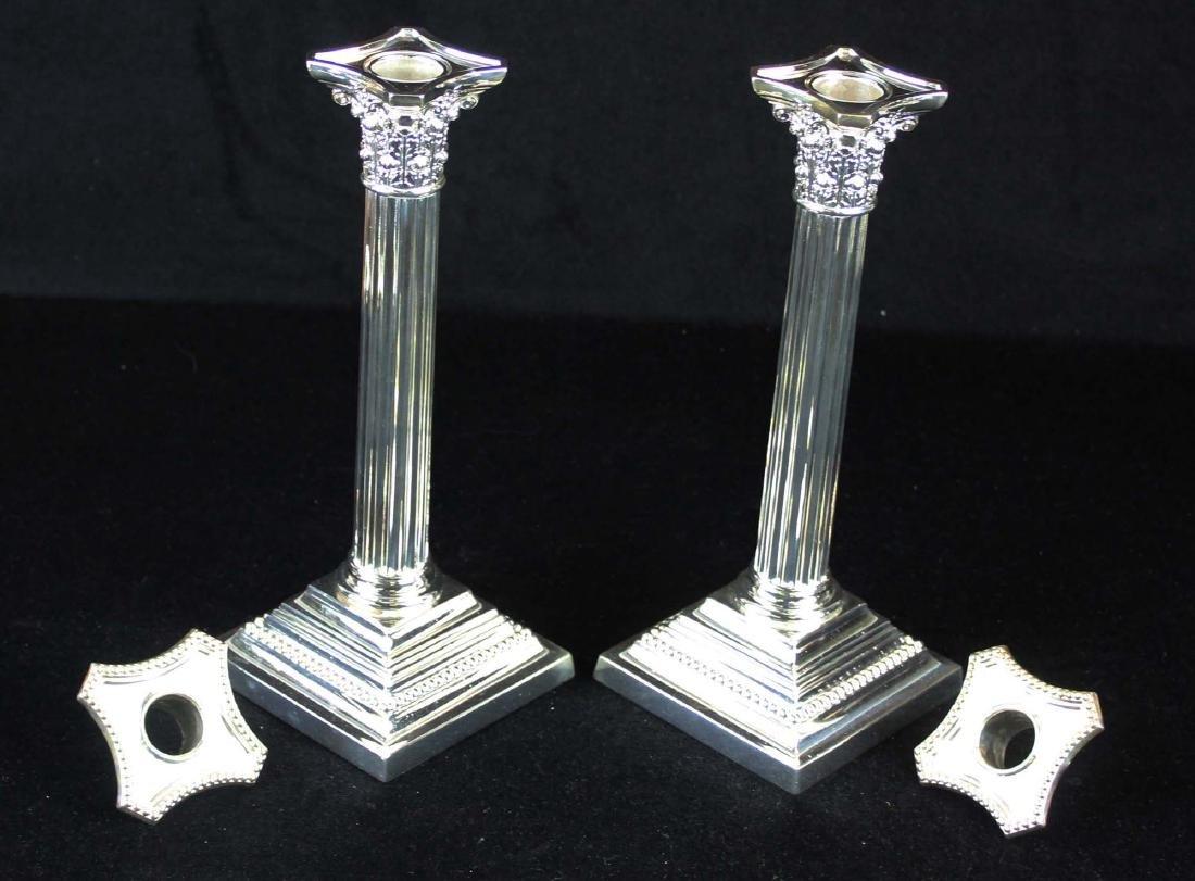 pair of Gorham silverplated column candlesticks - 3