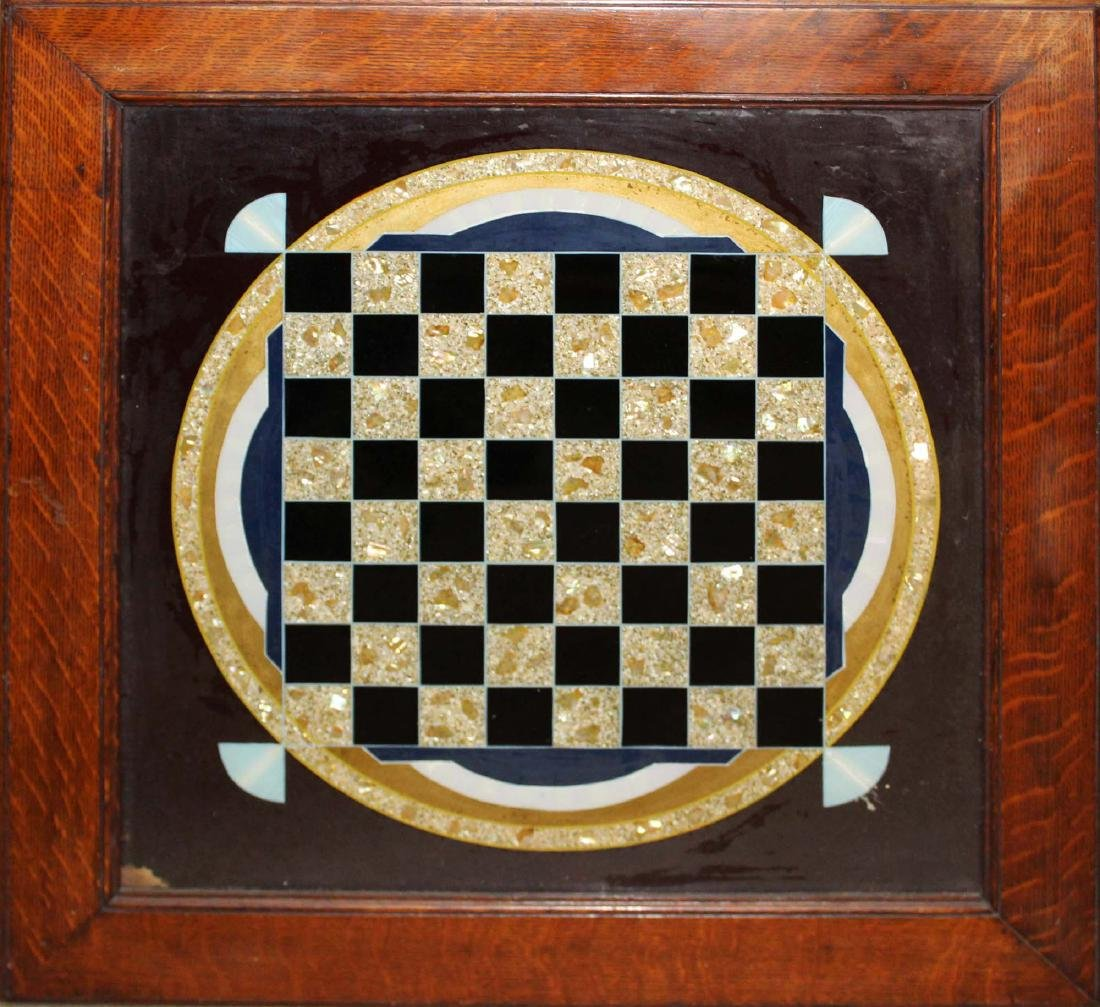 early 20th c framed eglomise game board
