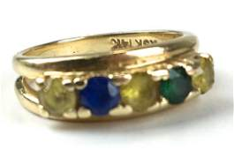 Emerald sapphire  citrine 14k yg ring