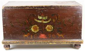 PA Dutch or German paint decorated blanket box