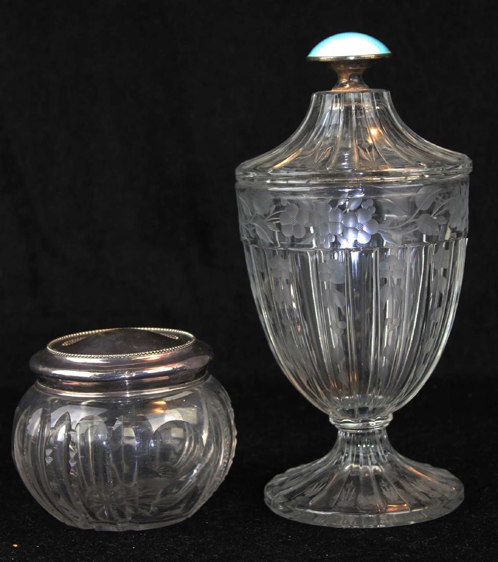 Hawkes type candy jar,  sterling lid dresser jar