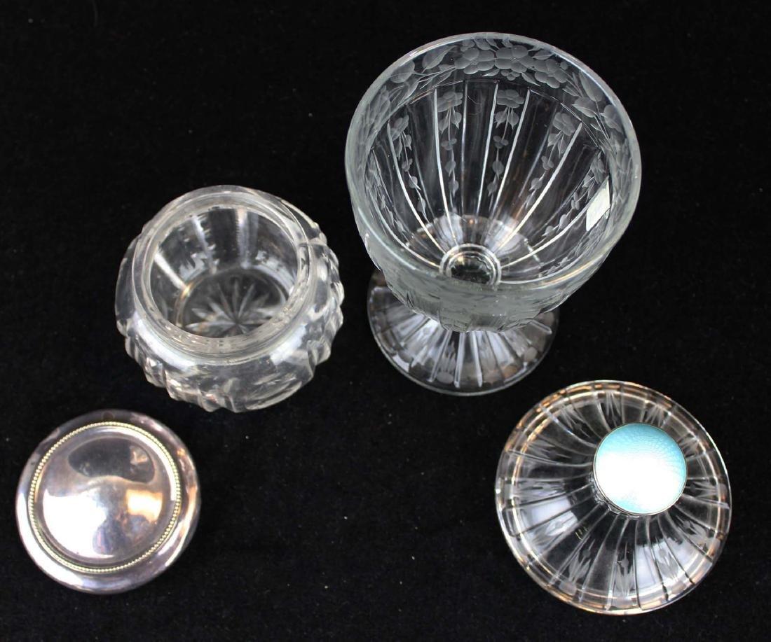Hawkes type candy jar,  sterling lid dresser jar - 2