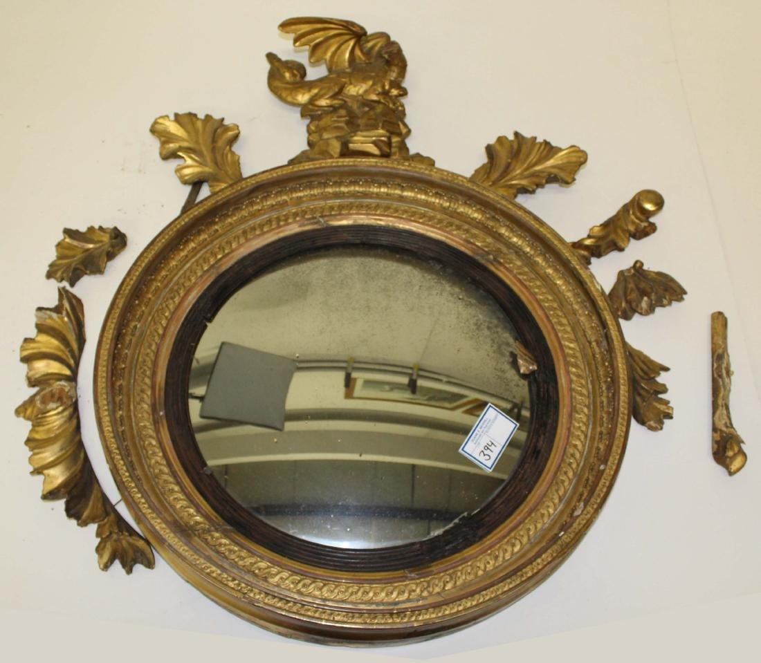 early 19th c gilt bull's-eye mirror- as found