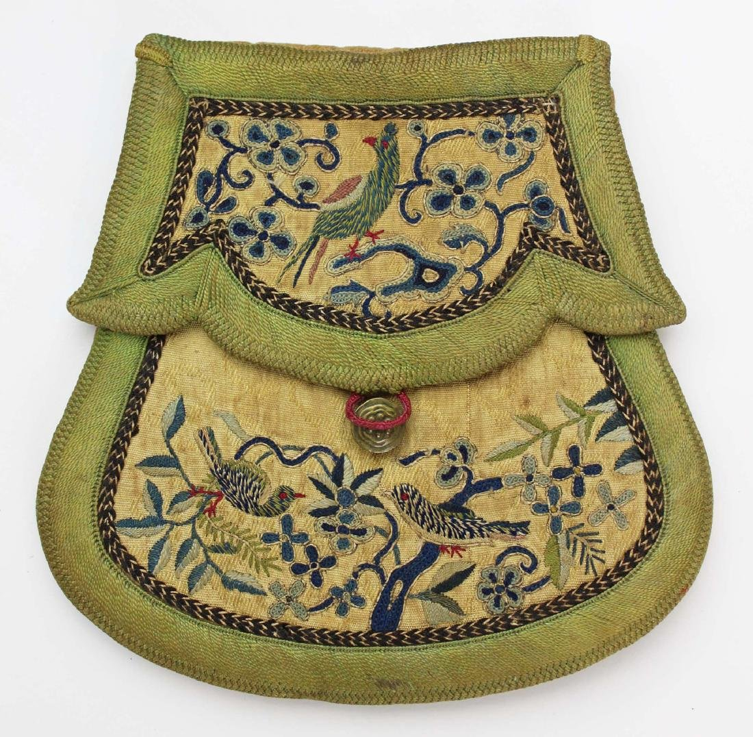 early 19th c hand embroidered bag with birds