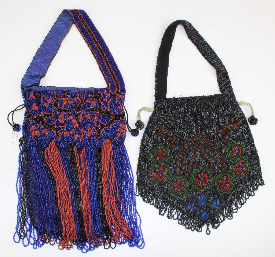 two vintage Art Deco era beaded purse