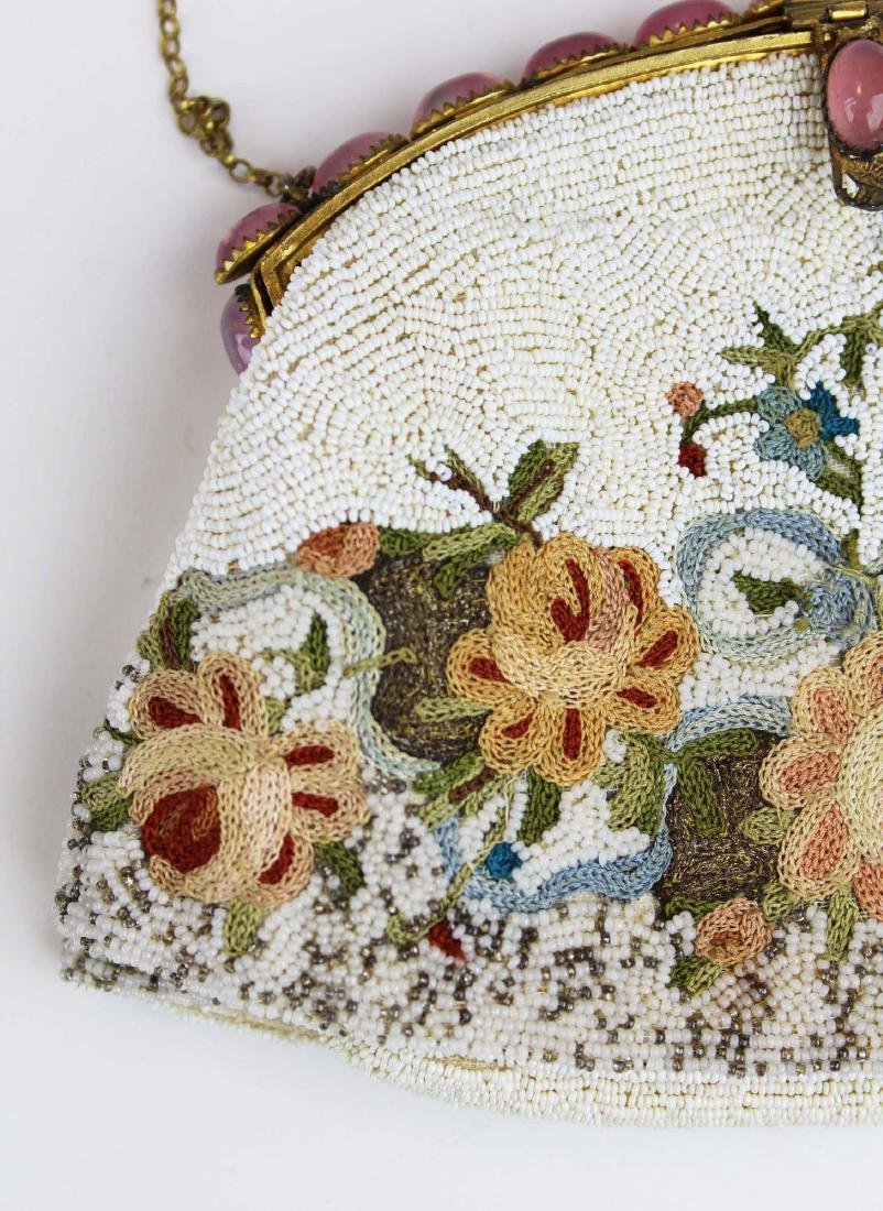 vintage French micro beaded purse - 3