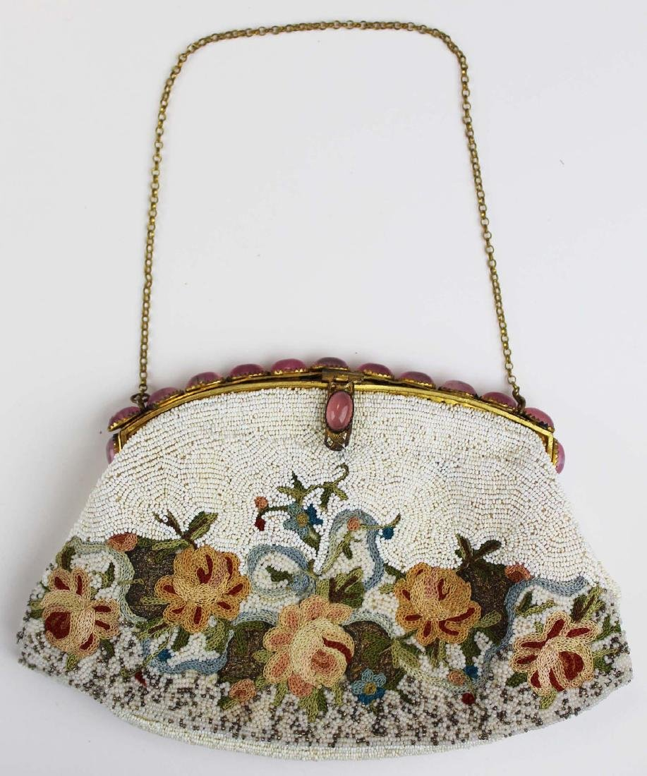 vintage French micro beaded purse - 5