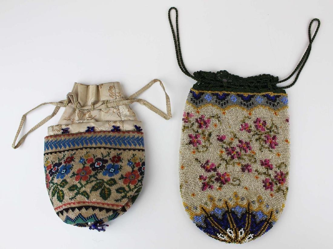 two ca 1900 vintage beaded purses