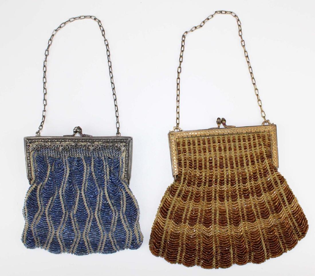 two vintage Art Deco era beaded purses