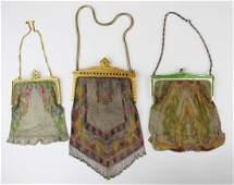 three vintage Art Deco era wire mesh purses