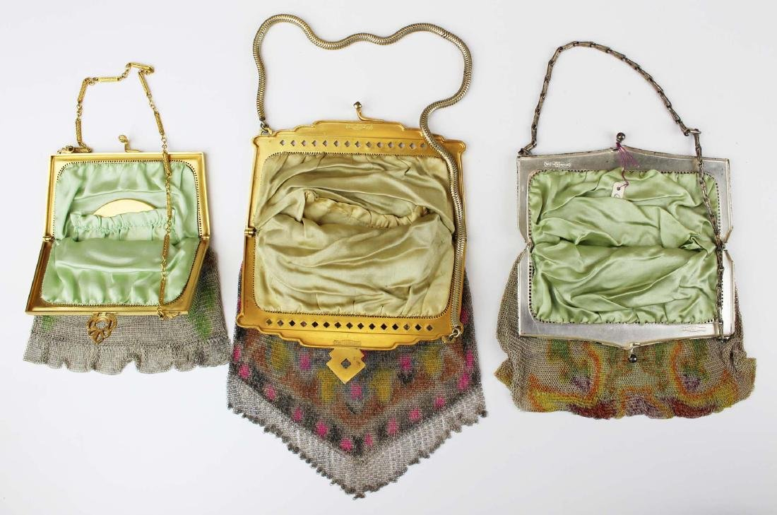 three vintage Art Deco era wire mesh purses - 5