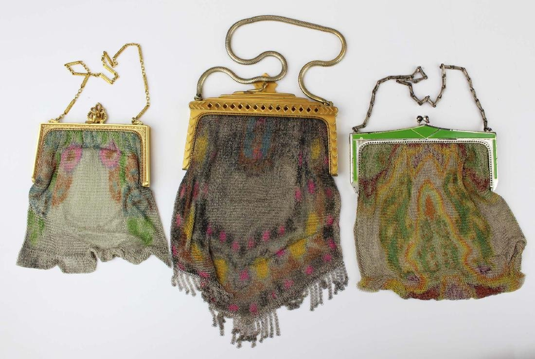 three vintage Art Deco era wire mesh purses - 6