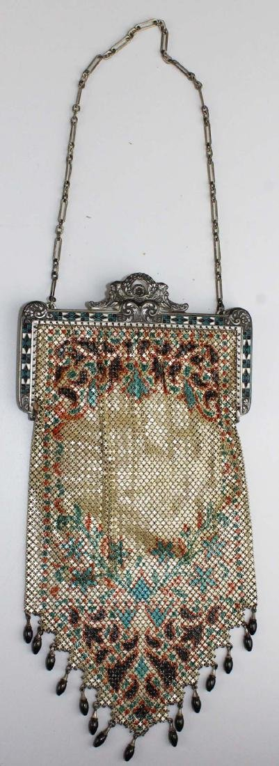 vintage Art Deco era enamel mesh purse