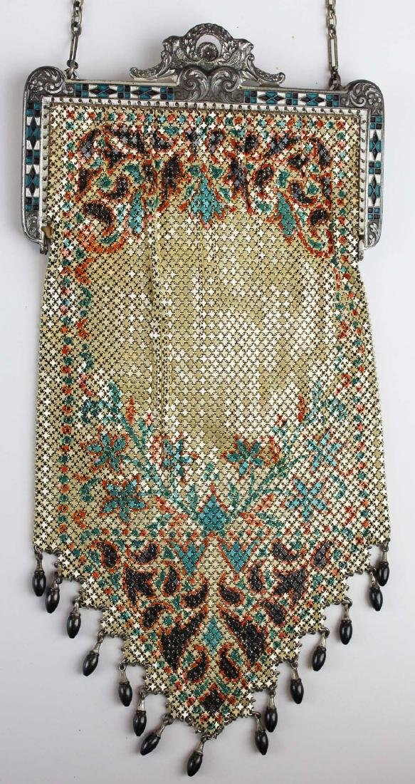 vintage Art Deco era enamel mesh purse - 2