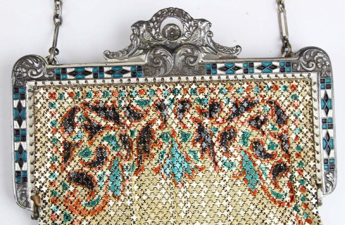 vintage Art Deco era enamel mesh purse - 3