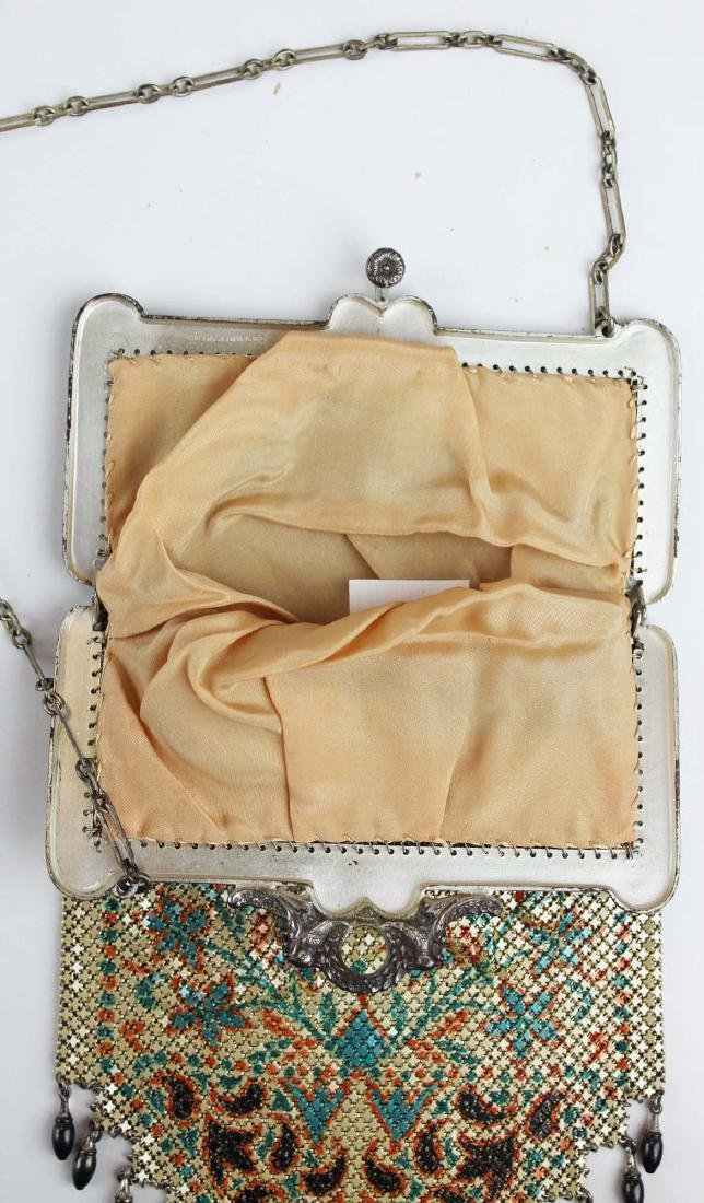 vintage Art Deco era enamel mesh purse - 5