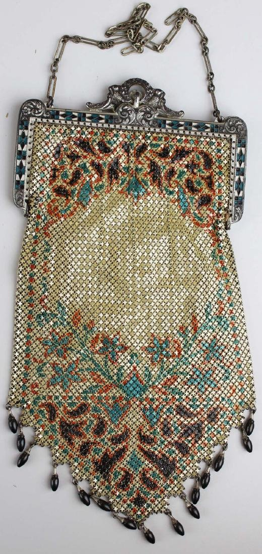 vintage Art Deco era enamel mesh purse - 6