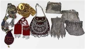 ten vintage beaded, mesh, miser's purses