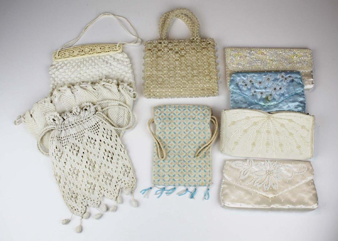 nine vintage cloth purses, clutch purses