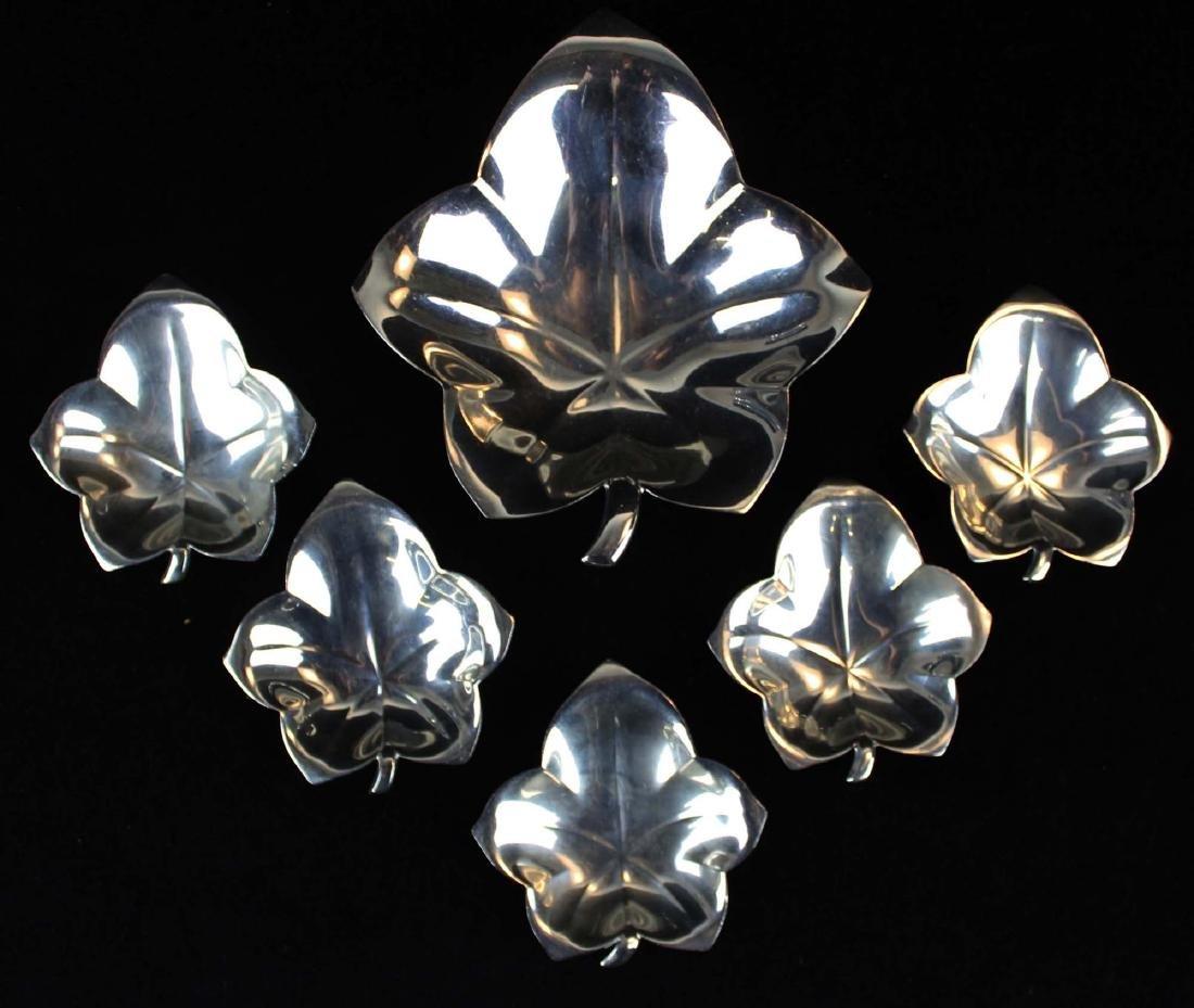 Tiffany & Co. leaf form sterling silver nut set