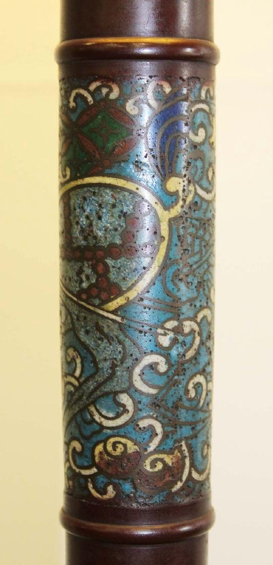 mid 20th c Chinese cloisonne floor lamp - 3