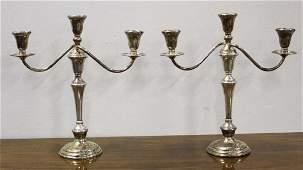 pr. of Preisner tall sterling silver candlesticks