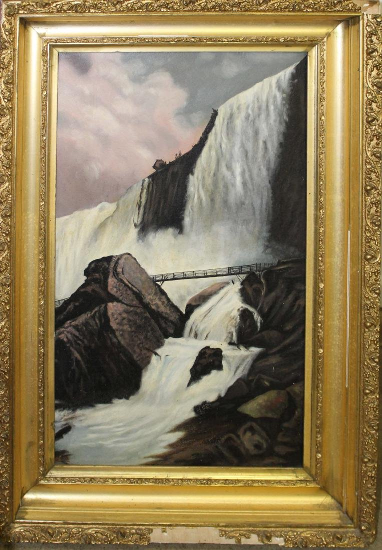 19th c oil on board of Niagara Falls