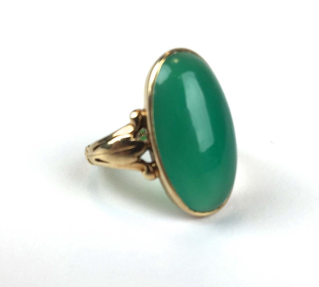 14k yellow gold  & jade ring
