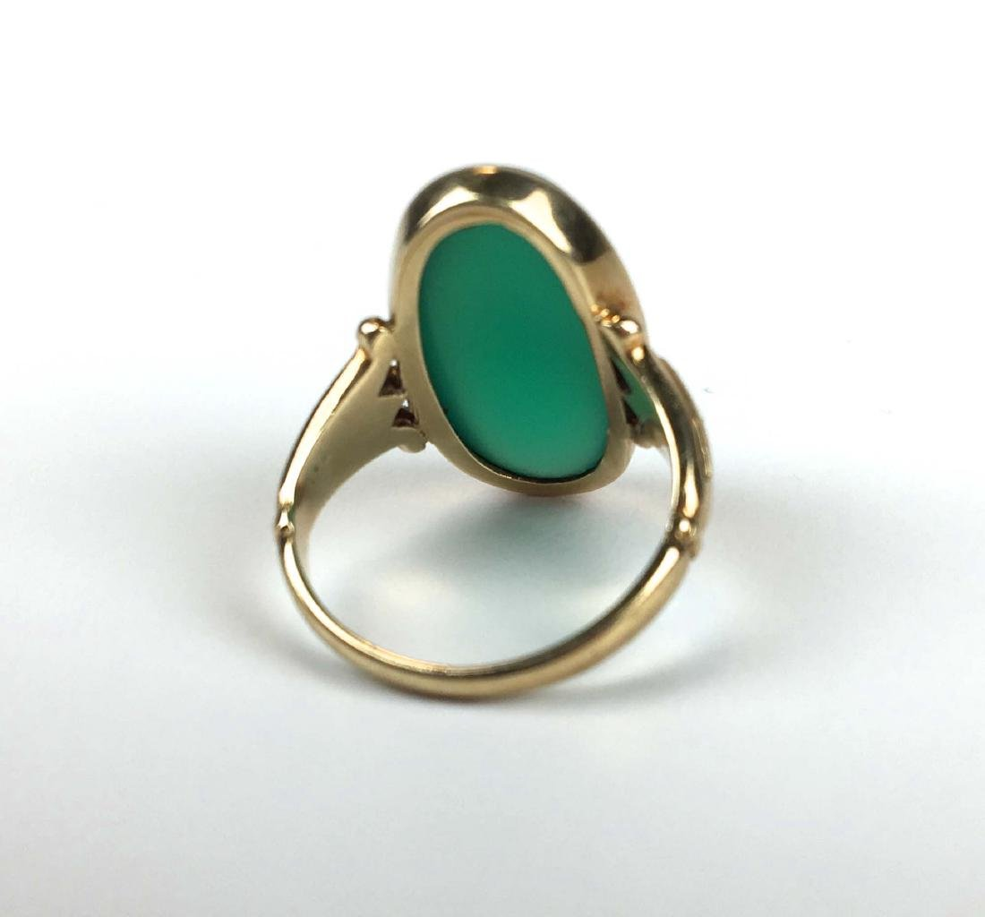 14k yellow gold  & jade ring - 2