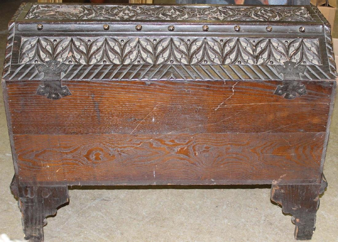 Unusual Continental coffin top blanket box - 6
