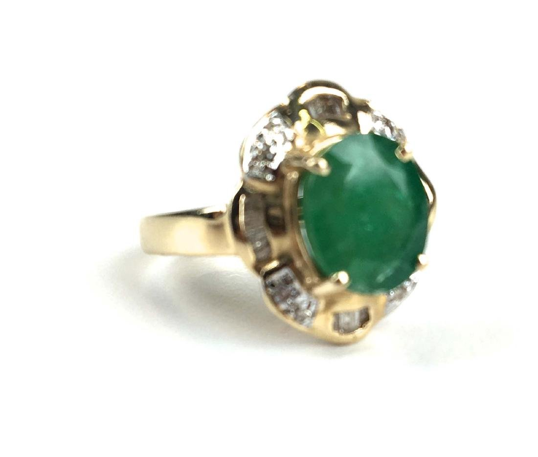14k y g emerald and diamond ring