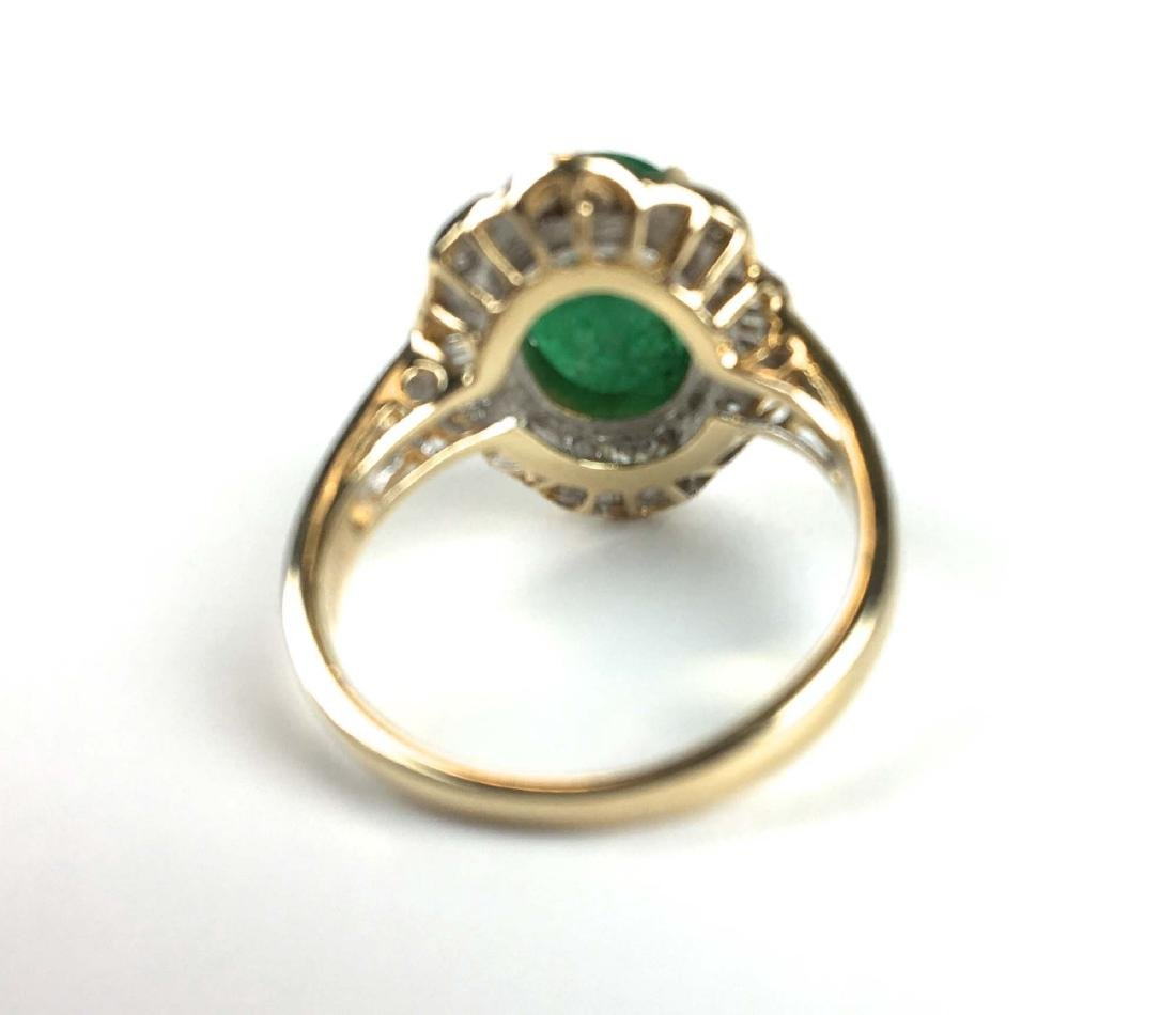 14k y g emerald and diamond ring - 2