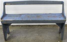 19th c primitive boot jack bench in old paint