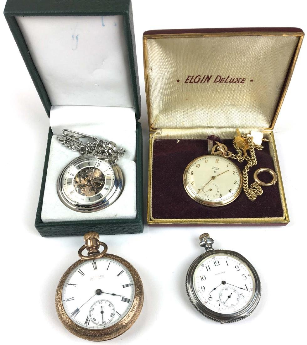 A group of 4 pocket watches