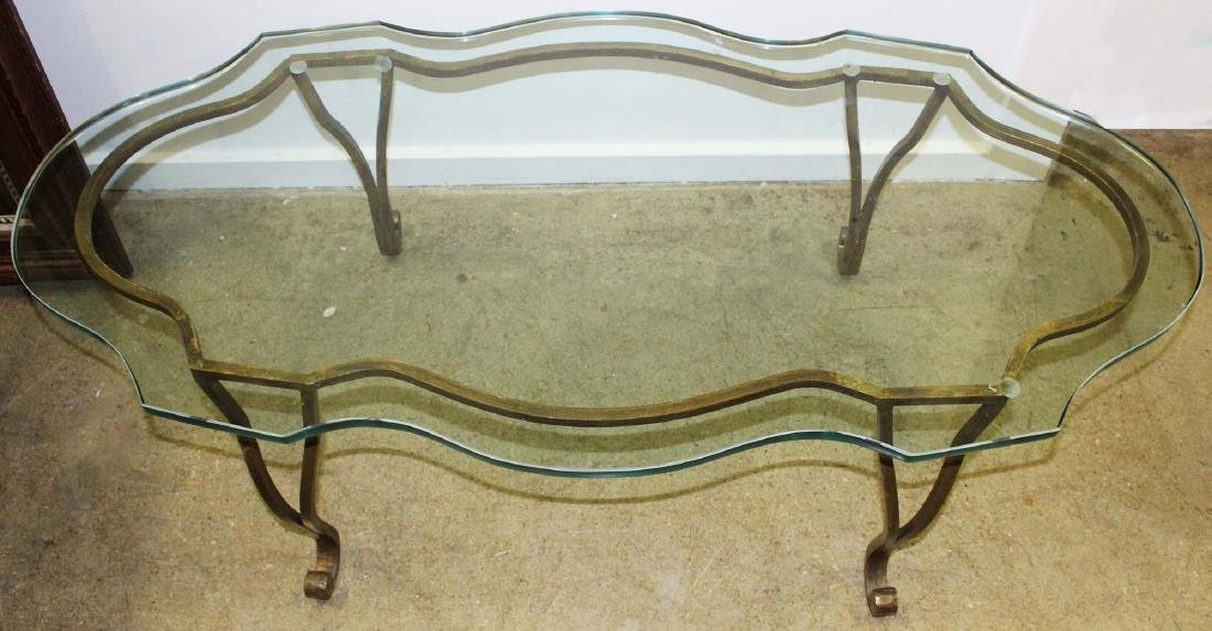 Scalloped heave plate glass and iron coffee table