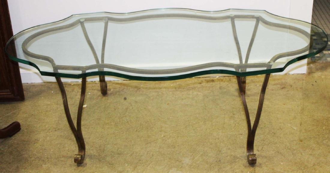 Scalloped heave plate glass and iron coffee table - 3