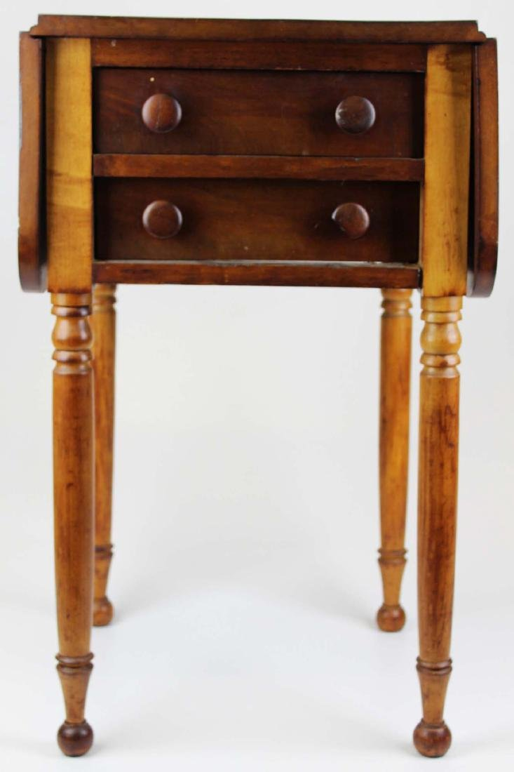 19th c Sheraton 2 drawer drop leaf stand