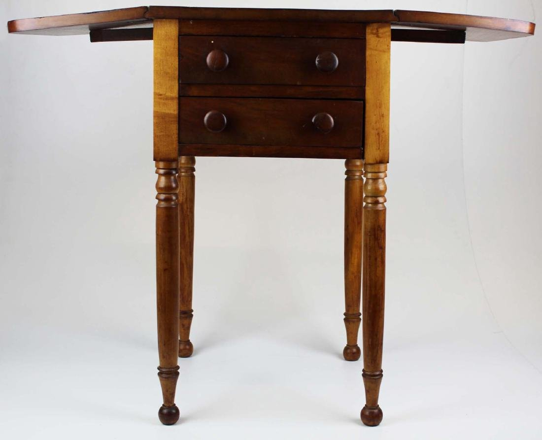 19th c Sheraton 2 drawer drop leaf stand - 2