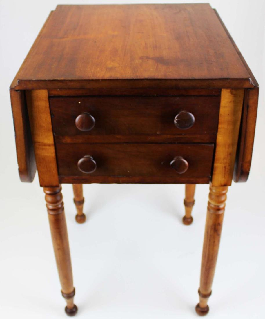 19th c Sheraton 2 drawer drop leaf stand - 3