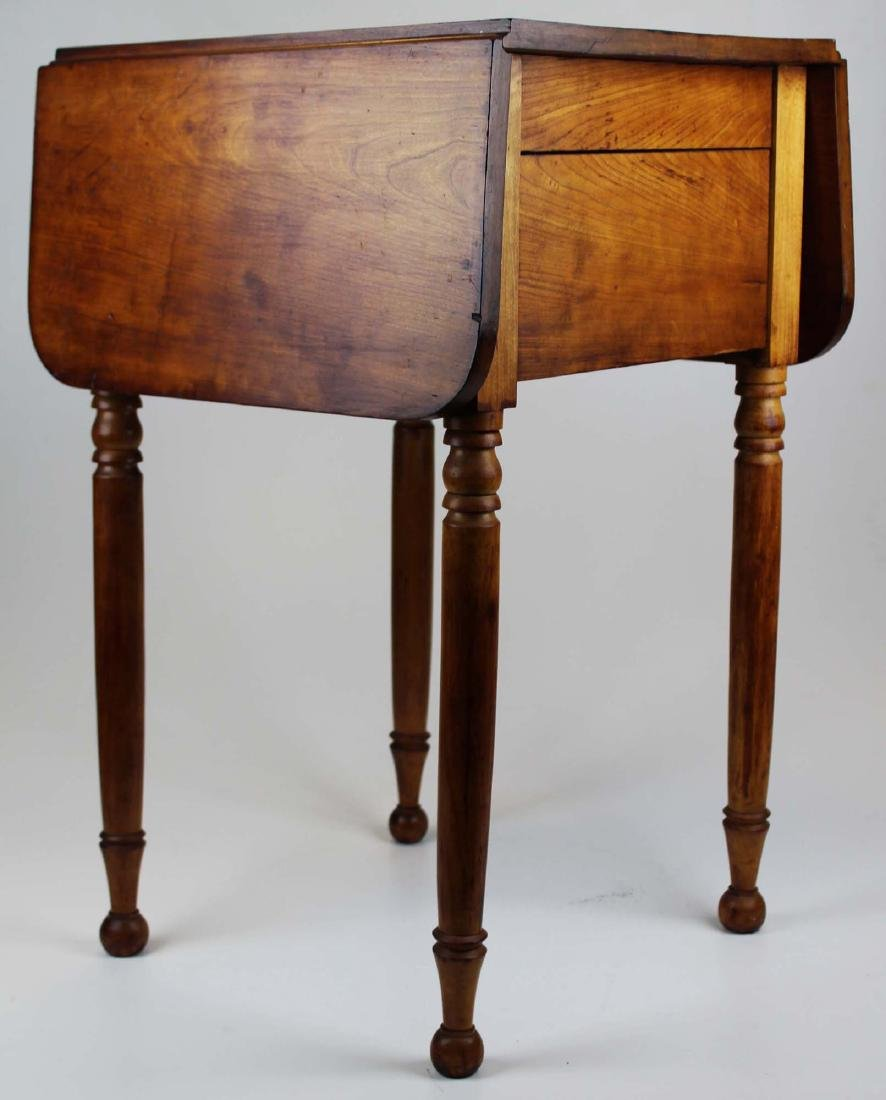 19th c Sheraton 2 drawer drop leaf stand - 4
