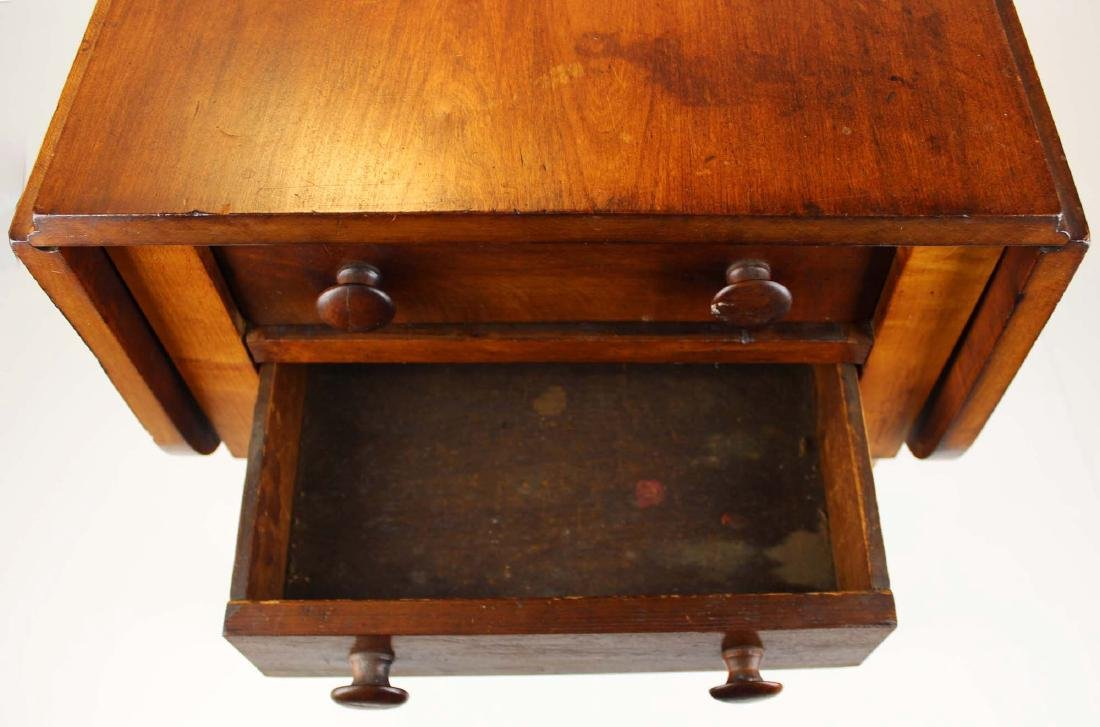 19th c Sheraton 2 drawer drop leaf stand - 5