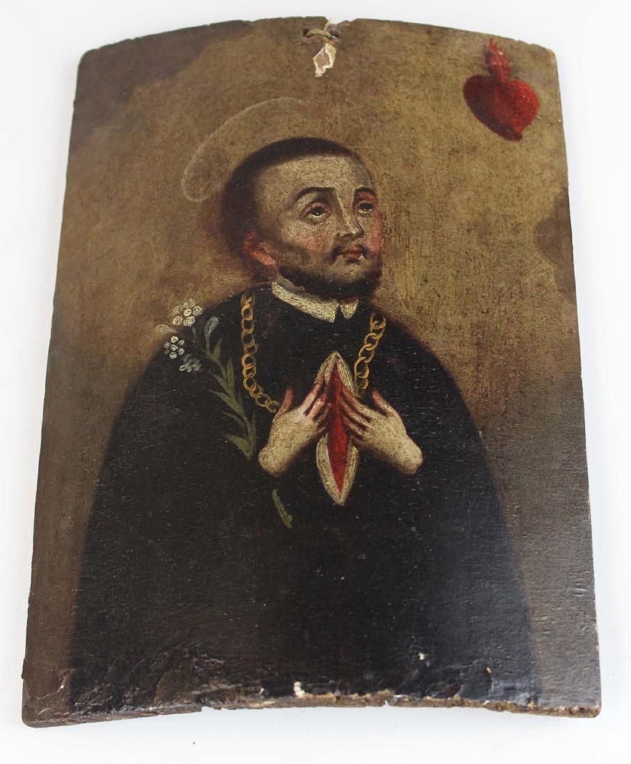19th c Central American retablo wooden panel