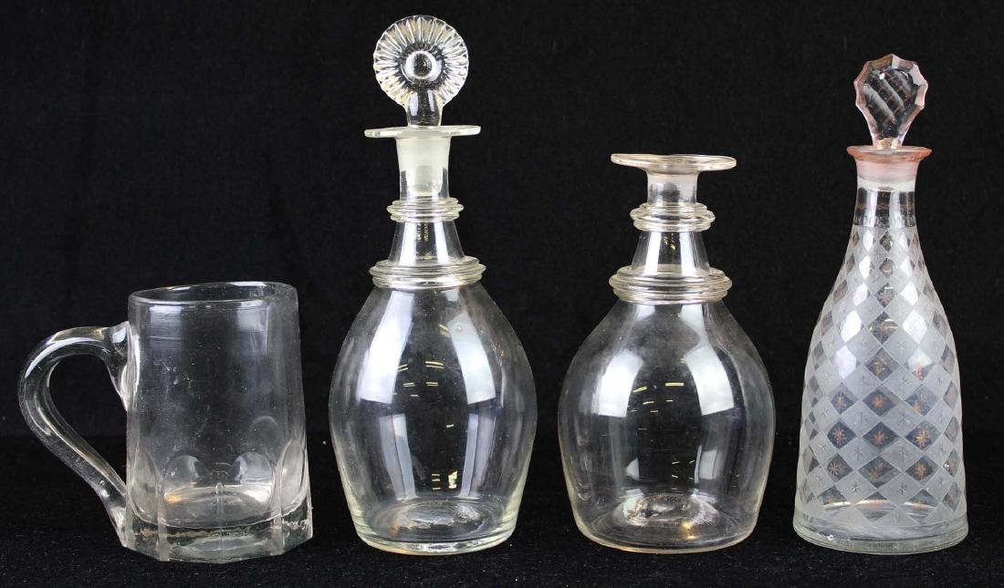four pieces of early 19th c blown glass