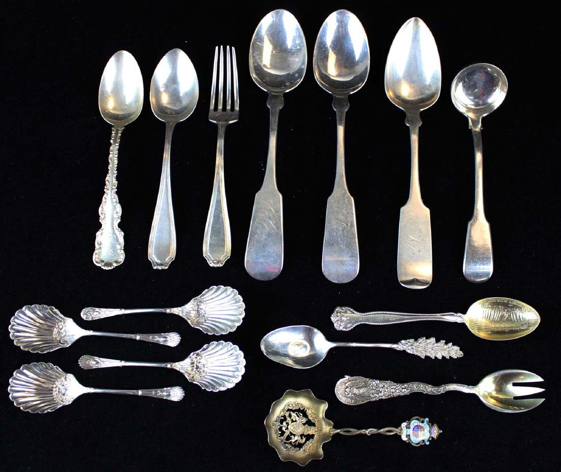 15 pcs. American and English sterling flatware