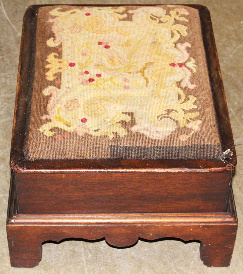 Chippendale style needlework footstool