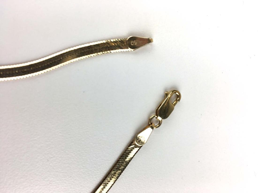 14k yellow gold herringbone style necklace - 2