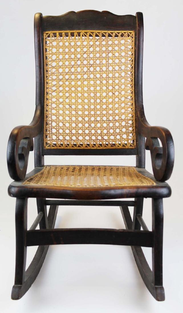ca 1870 child's cane seat Lincoln rocker