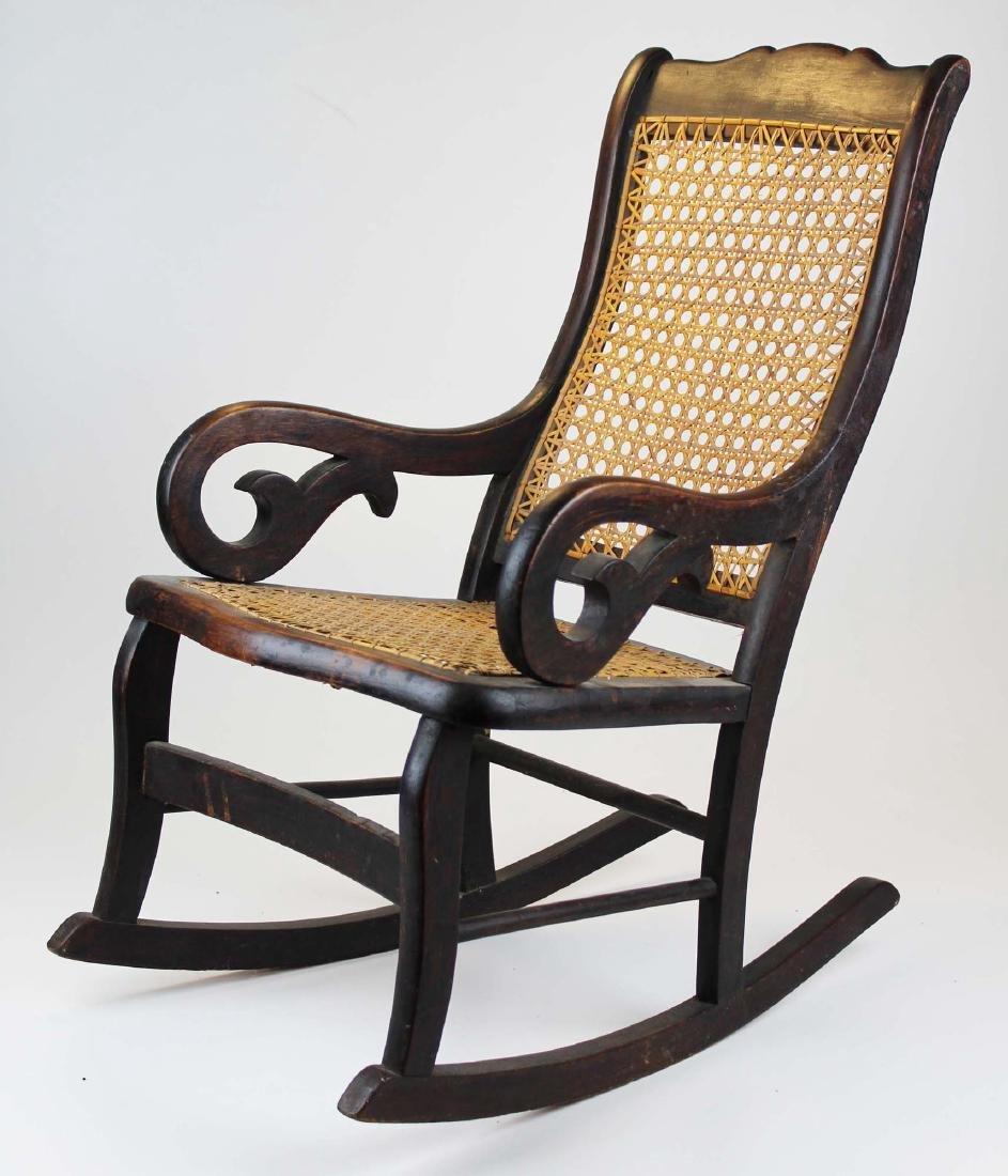 ca 1870 child's cane seat Lincoln rocker - 2